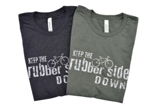 """charcoal and military green cycling t-shirts that read """"keep the rubber side down"""""""