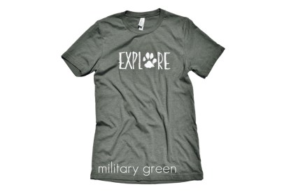 "EXPLORE t-shirt with a paw print for the ""O"" in color military green"