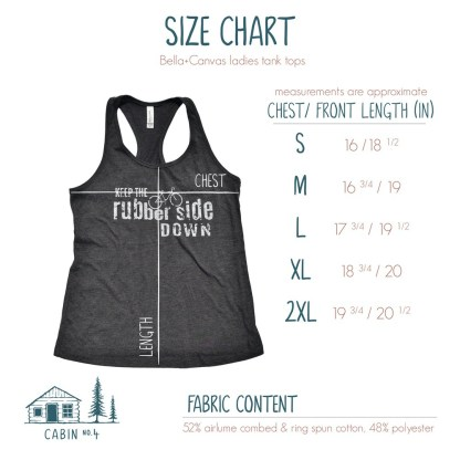 Rubber Side Down tank top size chart