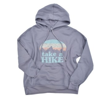 grey sweatshirt that says Take a Hike