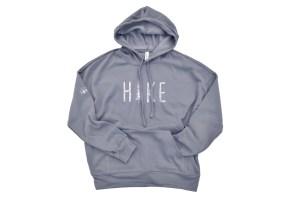 cozy hoodie sweatshirt that says HIKE on chest - storm grey