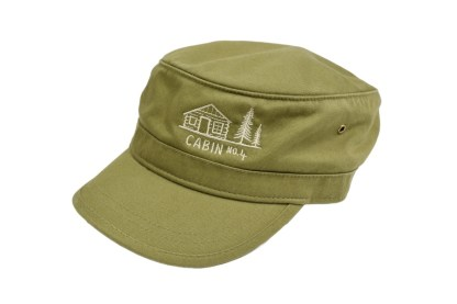olive green colored military/corps hat with Cabin No. 4 logo embroidery