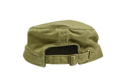 olive green colored military/corps hat - back with brass buckle closure