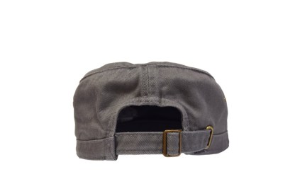 grey colored military/corps hat - back with brass buckle closure