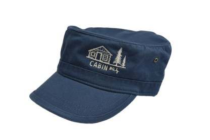 navy colored military/corps hat with Cabin No. 4 logo embroidery