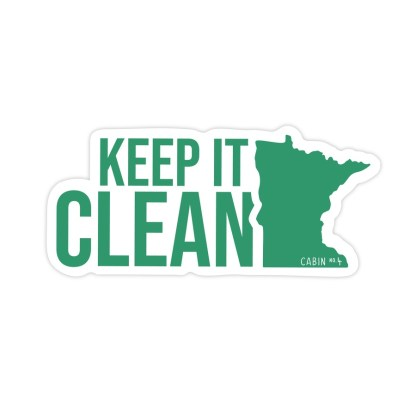 white sticker with green words: Keep it Clean and the outline of the state of Minnesota