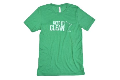 """Keep MN Clean t-shirt - green t-shirt that has outline of the state of Minnesota with """"Keep it Clean"""""""