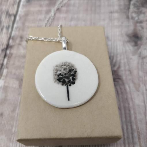 Ceramic pendant with black tree design