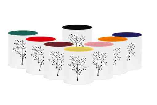 Mugs with tree design and different colours inside
