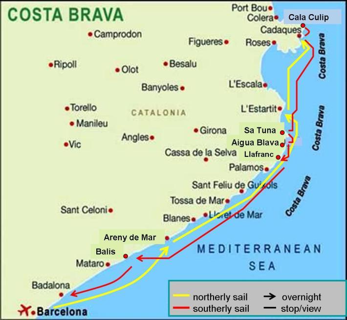 Barcelona to Cadaques, Costa brava, Spain Sailing