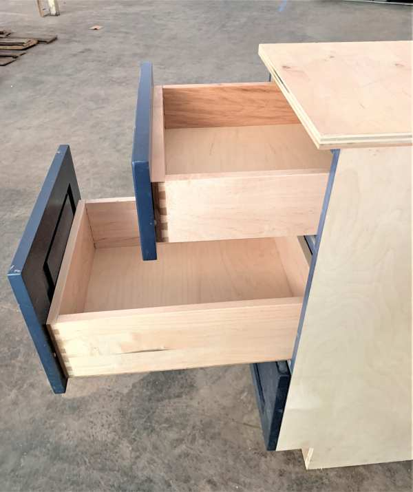 Cabinet Section Drawers Blue Open