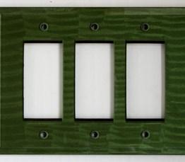 Susan Goldstick Decorative Switchplates Glass Rocker Triple Emerald