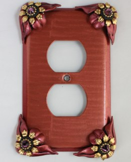 Susan Goldstick Decorative Bloomer Poppy Outlet Cover Coral Ruby