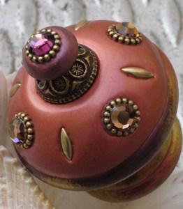 Susan Goldstick Decorative Finials Isabella II - Coral/Amethyst/Smoke Topaz Crystal/Amethyst Crystal