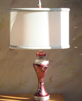 Susan Goldstick DecorativeTable Lamps - Tempo Ruby / White with Silver Trim Shade