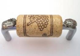 Vine Designs Brushed Chrome Cabinet Handle, natural cork, silver barrel accents
