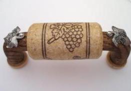Vine Designs Walnut Cabinet Handle, natural cork, silver leaf  accents