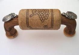 Vine Designs Walnut Cabinet Handle, matching cork, silver barrel accents