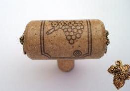 Vine Designs Walnut Stem Cabinet knob, matching cork, gold leaf accents