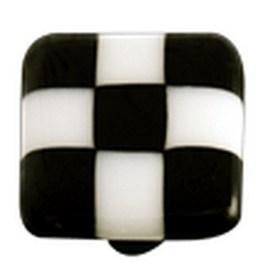 Hot Knobs Glass Cabinet Knob, Black White Squares