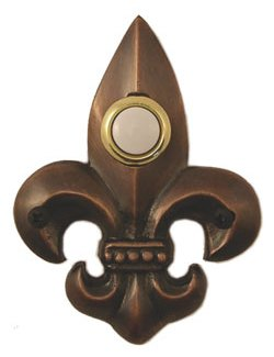 Waterwood Hardware Decorative Fleur Di Lis Doorbell-Small-Oil Rubbed Bronze