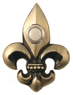 Waterwood Hardware Decorative Fleur Di Lis Doorbell-Small-Pewter
