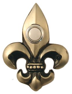 Waterwood Hardware Decorative Fleur Di Lis Doorbell-Small-Pewter
