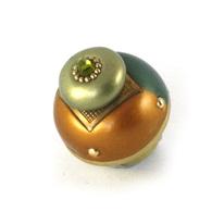 Susan Goldstick Nu Duo Emerald Deep Gold 1.5 inch Cabinet Knob