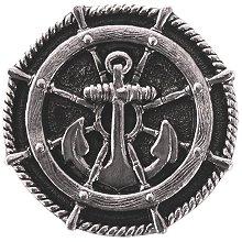 "Notting Hill Cabinet Hardware Ship's Wheel Brite Nickel 1-5/16"" diameter"