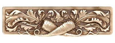 """Notting Hill Cabinet Pull Leafy Carrot Antique Brass 4-7/8"""" x 1-3/8"""""""