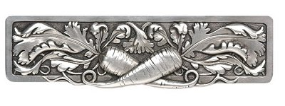 """Notting Hill Cabinet Pull Leafy Carrot Brilliant Pewter 4-7/8"""" x 1-3/8"""""""