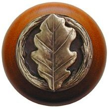 Notting Hill Cabinet Knob Oak Leaf/Cherry Antique Brass