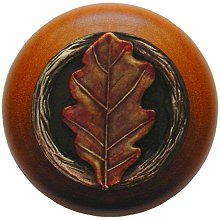 Notting Hill Cabinet Knob Oak Leaf/Cherry Brass Hand Tinted