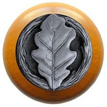 Notting Hill Cabinet Knob Oak Leaf/Maple Antique Pewter