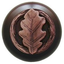 Notting Hill Cabinet Knob Oak Leaf/Dark Walnut Antique Copper