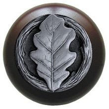Notting Hill Cabinet Knob Oak Leaf/Dark Walnut Antique Pewter