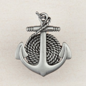 Acorn Manufacturing Anchor / Rope Cabinet Knob Antique Pewter