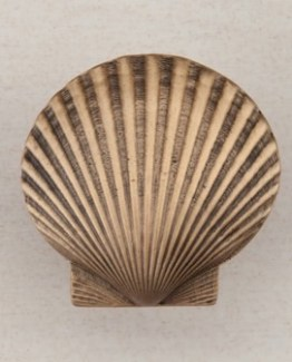 Acorn Manufacturing Large Scallop Cabinet Knob Museum Gold