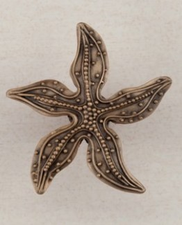 Acorn Manufacturing Beaded Starfish Cabinet Knob Museum Gold