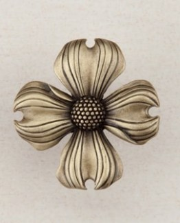 Acorn Manufacturing Dogwood Cabinet Knob Antique Brass