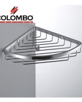 Colombo Designs Large Corner Shower Basket w/ Hook -Chrome