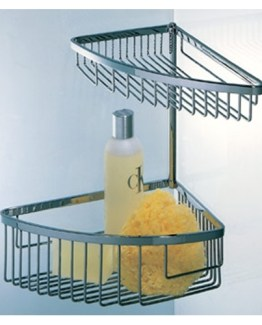 Colombo Designs Large Double Corner Shower Basket - Chrome
