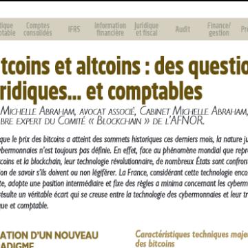 Bitcoin et altcoins : des questions juridiques … et comptables
