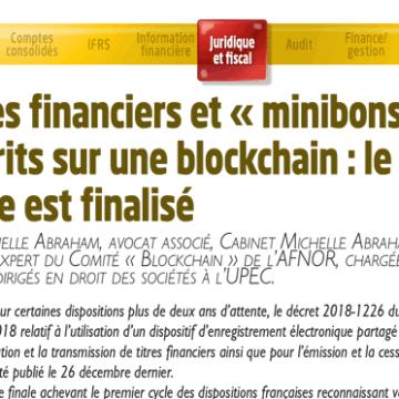 Titres financiers et «minibons» inscrits sur une blockchain : le cadre est finalisé