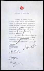 Original copy of Edward VIII's declaration of abdication, signed on 10 December 1936.
