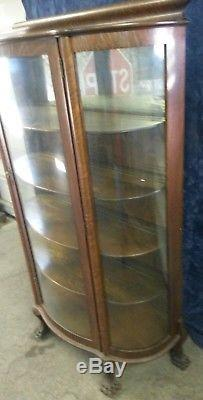 Antique Oak Curio Cabinet Curved Glass Mirrored Back Claw Serpent Feet Mint