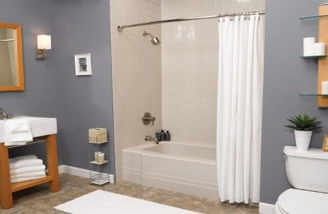 beige tile shower tub with maple sink