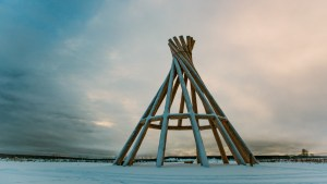 A 55-foot teepee commemorating a 1987 papal mass delivered in Fort Simpson stands at the Edhaa National Historic Site - Pat Kane