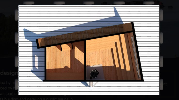 A floorplan of a floating sauna intended for construction on Yellowknife Bay