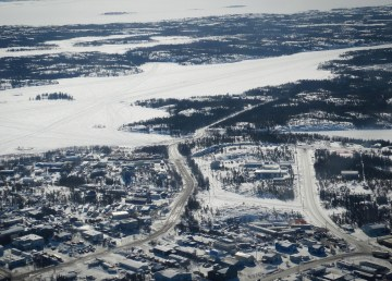 An aerial view of Yellowknife's Kam Lake